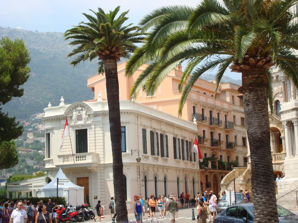 Blick auf die Innenstadt von Monaco mit Palmen