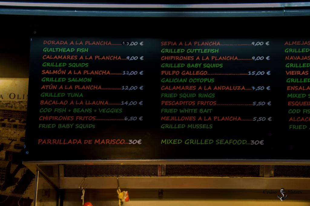 Speisekarte am Quiosc Modern in Barcelona