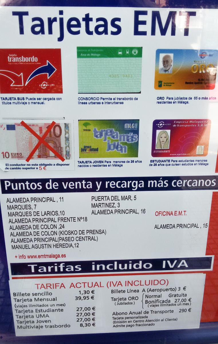 Buspreise in Malaga