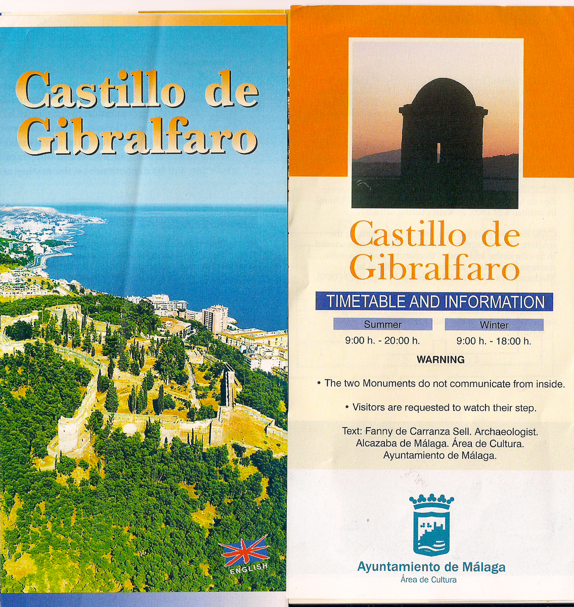 Flyer about the castle Gibralfaro