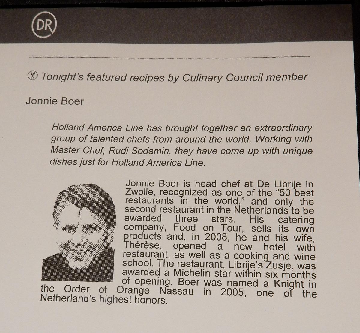 Informationen zu Jonnie Boer auf der Eurodam