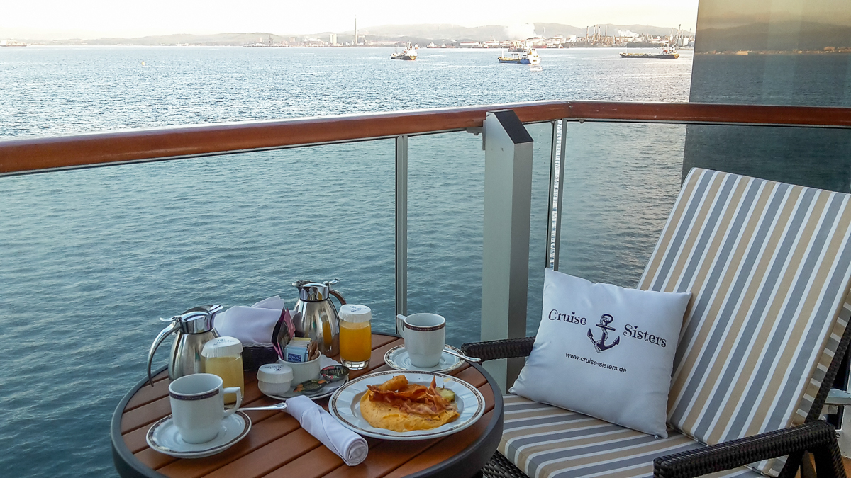Breakfast on the Eurodam in the port of Gibraltar