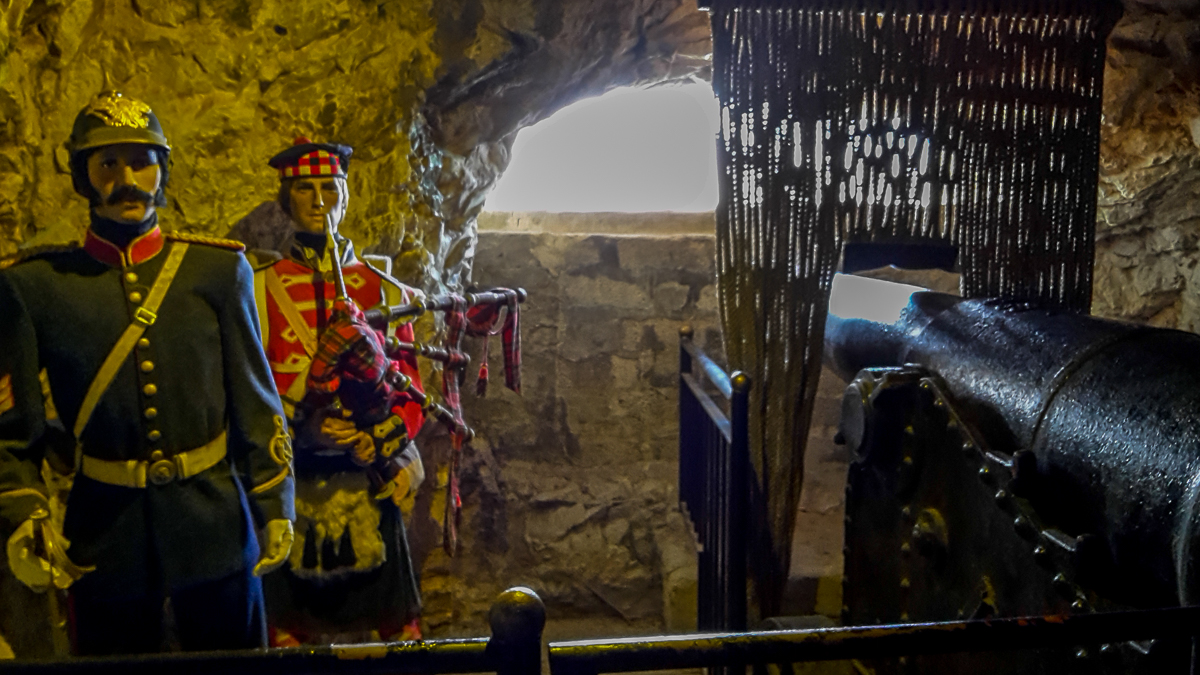 Figures and Canons in the great siege tunnels in Gibraltar