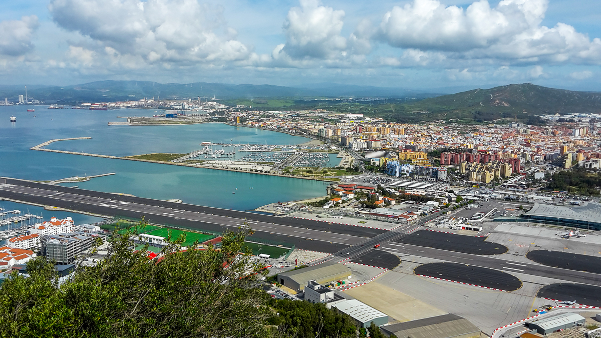 The border and airport in Gibraltar