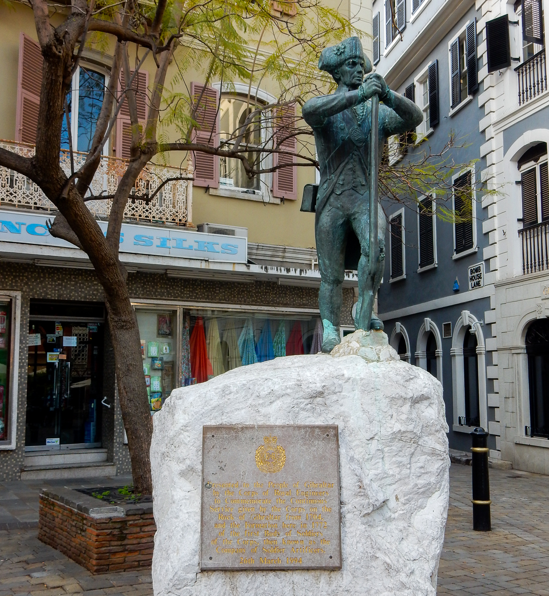 The memorial to the Corps of Royal Engineers Main Street in Gibraltar