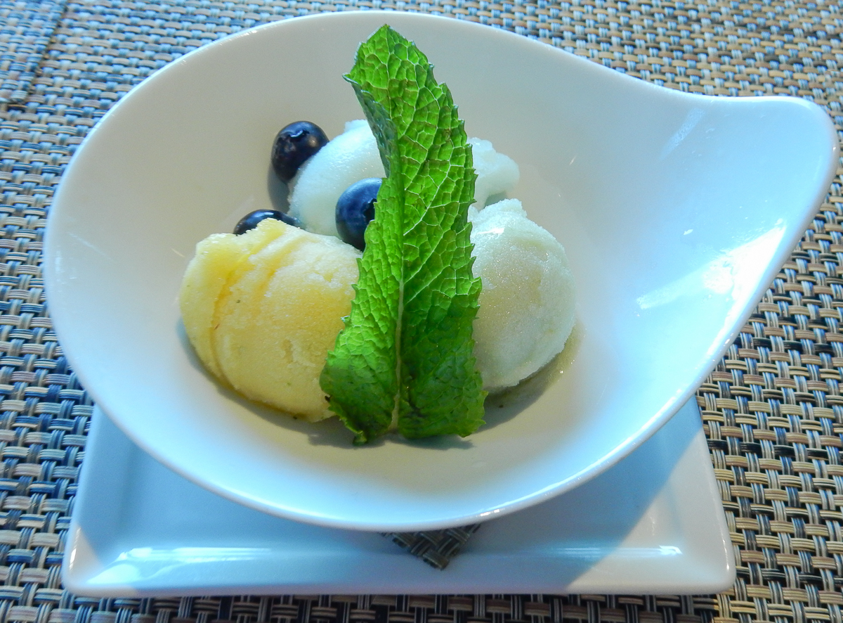 Trio of sorbets at the Tamarind restaurant aboard the Eurodam