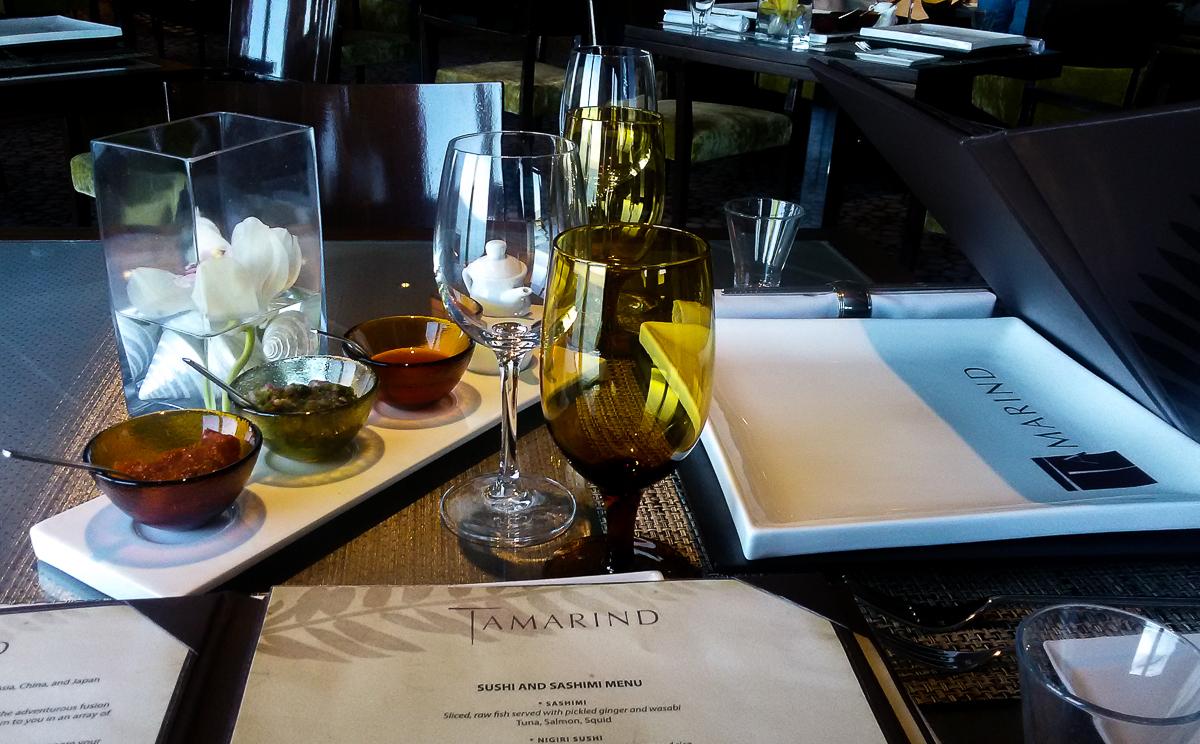Table at the Tamarind Restaurant aboard the Eurodam