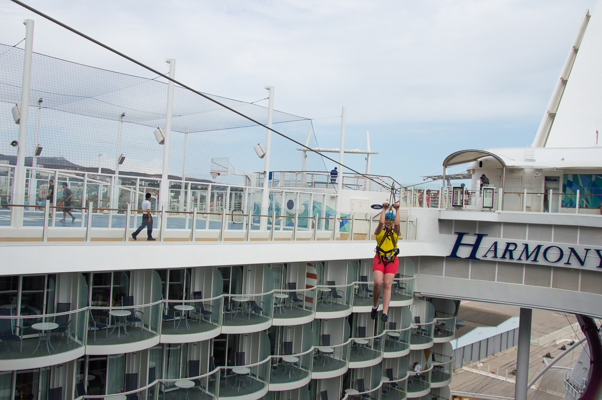 The zip line aboard the Harmony of the Seas