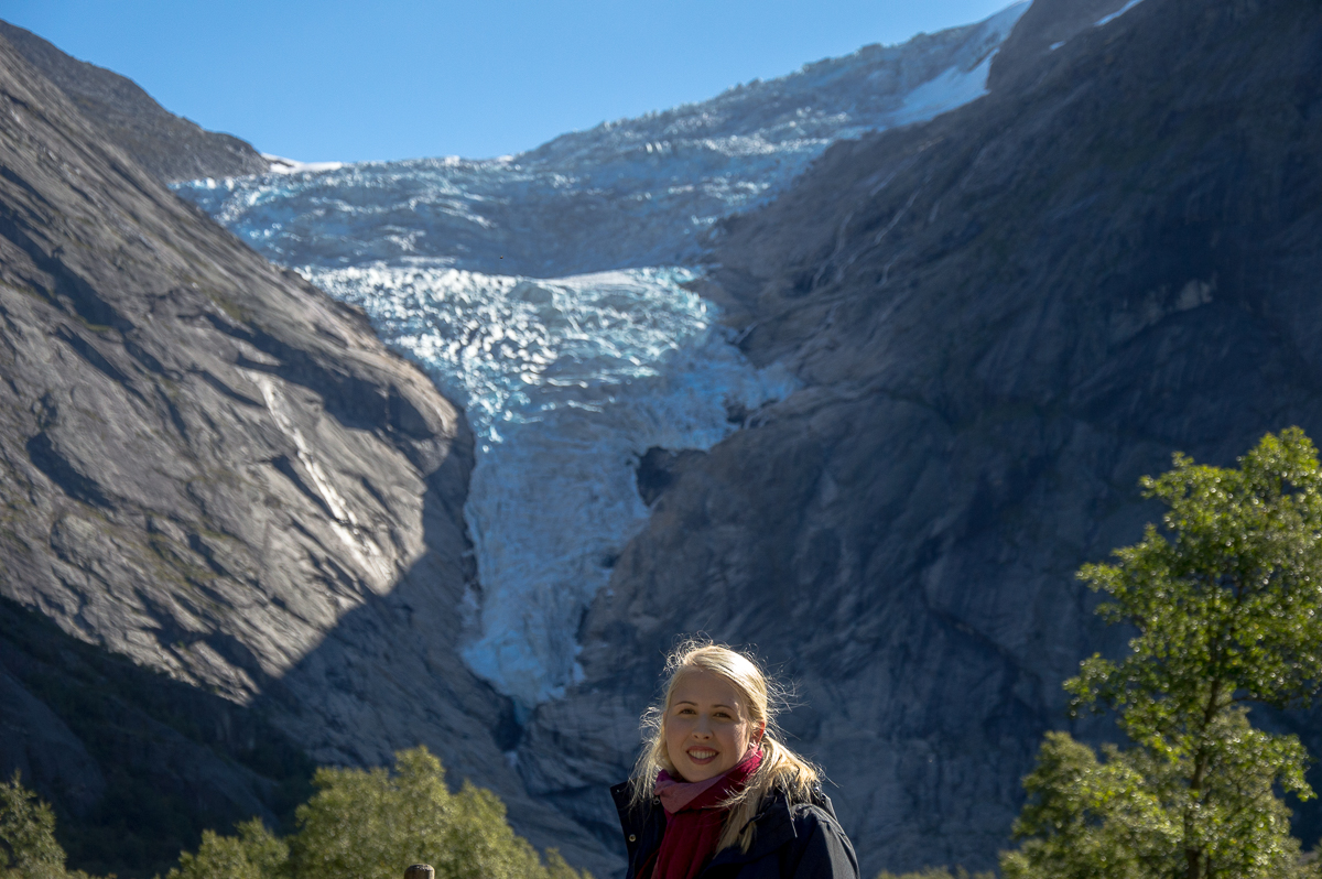 Cruise Sisters Juliet in front of the Briksdal Glacier