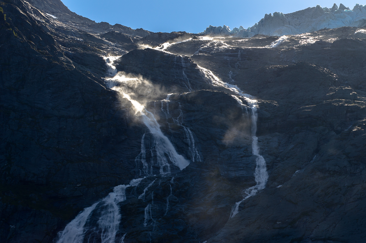 Waterfalls at the Briksdal Glacier