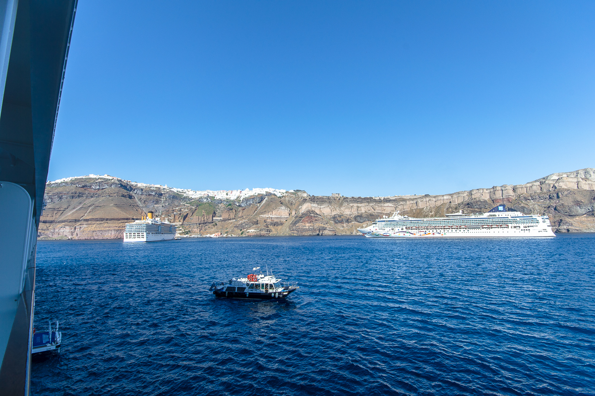 Norwegian Star and Costa Deliziosa in the bay of Santorini